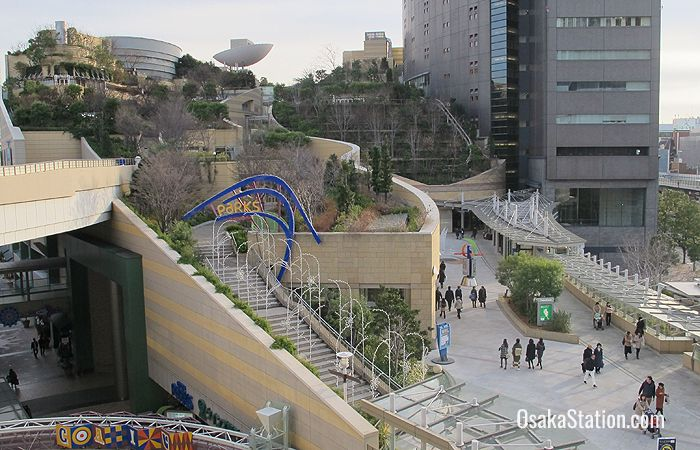 A view of Namba Parks from the 4th story walkway