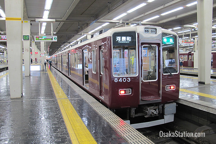 A train bound for Kyoto at Hankyu Umeda Station