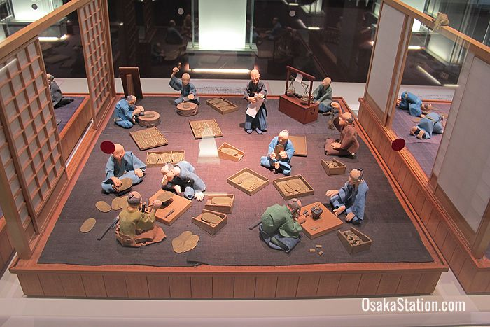 A model depicting gold coin production in the Edo era