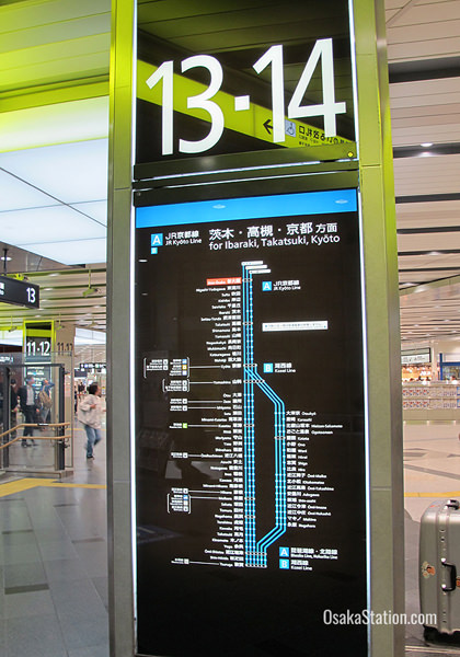 The signs for each platform have detailed information in English and Japanese