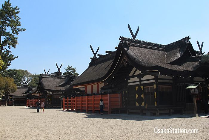 The main buildings at Sumiyoshi Taisha Shrine