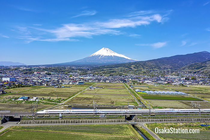 Tokaido Shinkansen train with Mount Fuji in the backbround