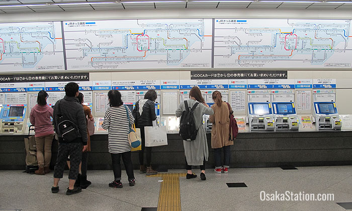 Buying tickets at Osaka Station