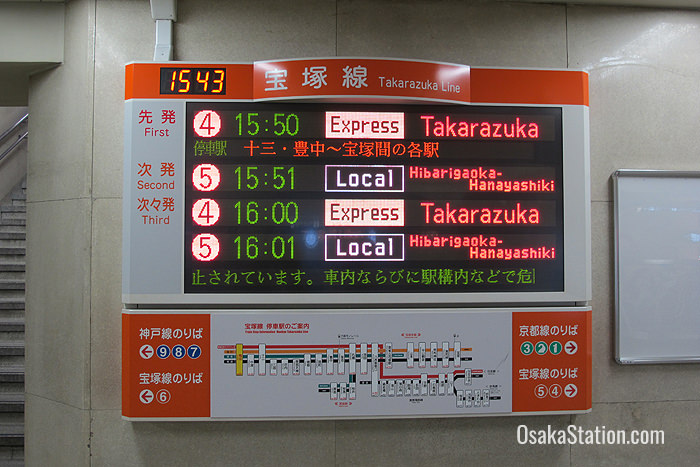 Trains for Takarazuka depart from Platforms 4 and 5
