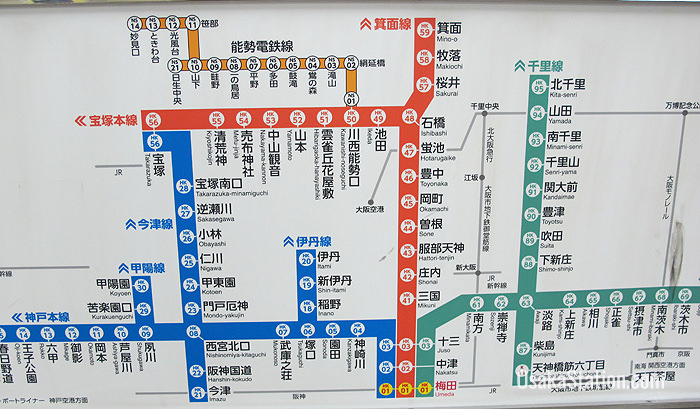 fb32a6bddc74 Bilingual route maps in Hankyu Umeda Station clearly show the destinations.  The central orange route