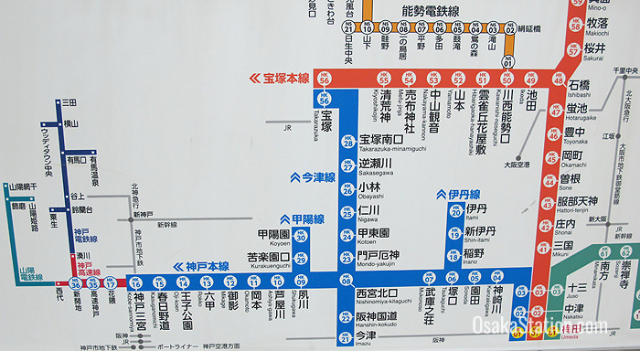 Route maps in Hankyu Osaka-Umeda Station clearly show the destinations and fares. The Kobe Main Line is color coded blue