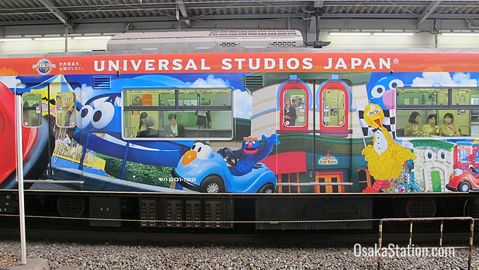 Some trains have a special Universal Studios Japan themed livery