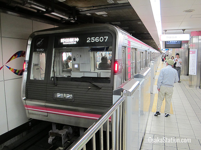 A Sennichimae subway train at Namba Station bound for Nodahanshin