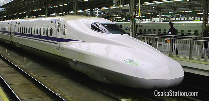 A shinkansen train at Shin-Osaka Station