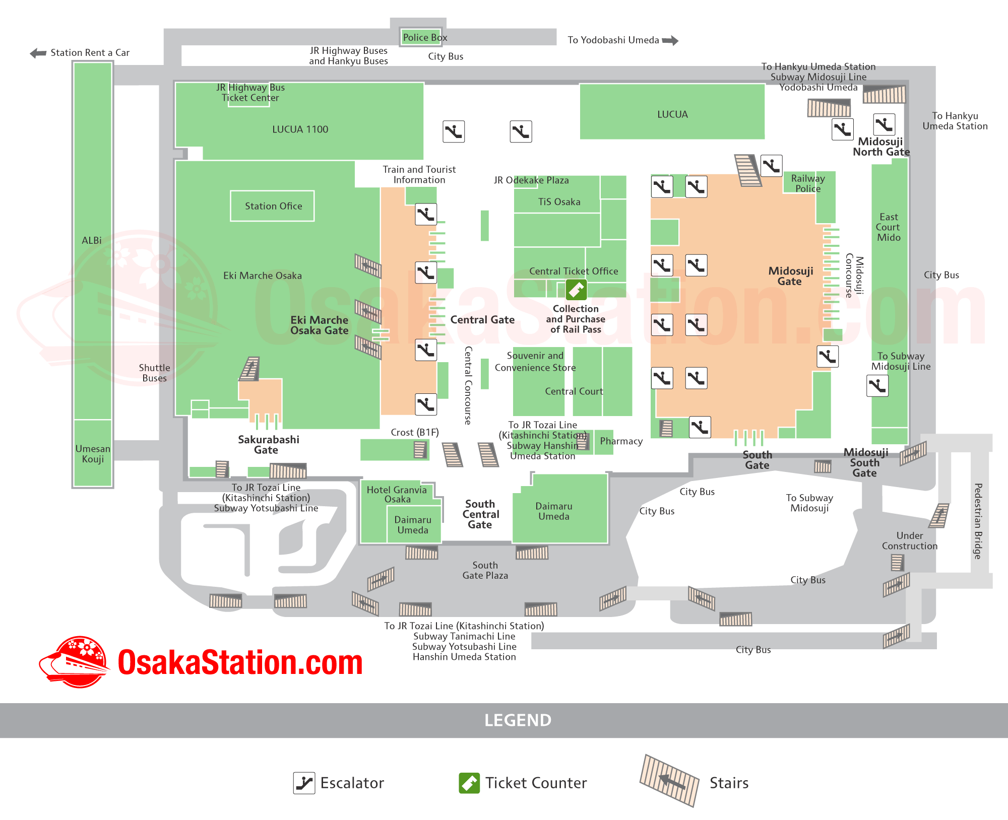 Osaka Station Map Finding Your Way Osaka Station