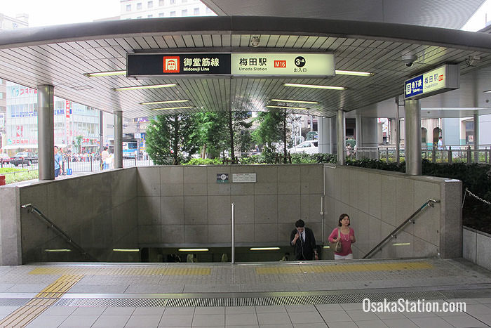 Steps leading down to Umeda Subway Station at the northern end of Osaka Station's Midosuji Concourse