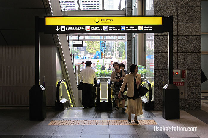 This escalator leading down to Hanshin Osaka-Umeda Station is close by the southern exit of Osaka Station's Central Concourse