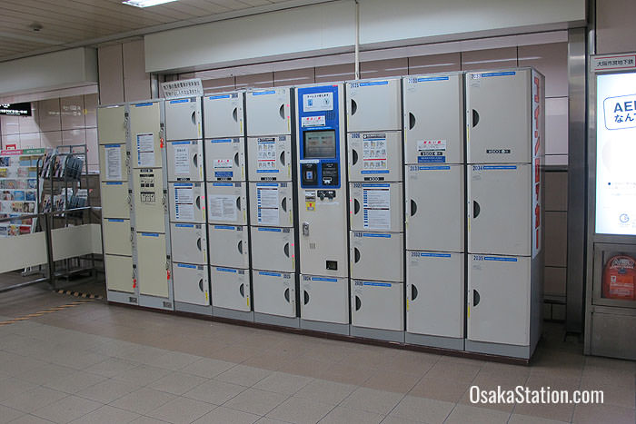 A close-up of the Higashi-Umeda Station lockers