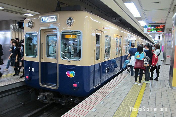 A local train on the Hanshin Main Line at Hanshin Osaka-Umeda Station
