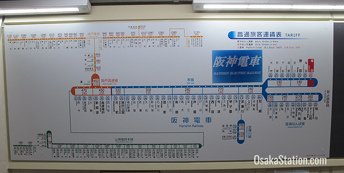 Route maps are displayed above the ticket machines with destinations and fares