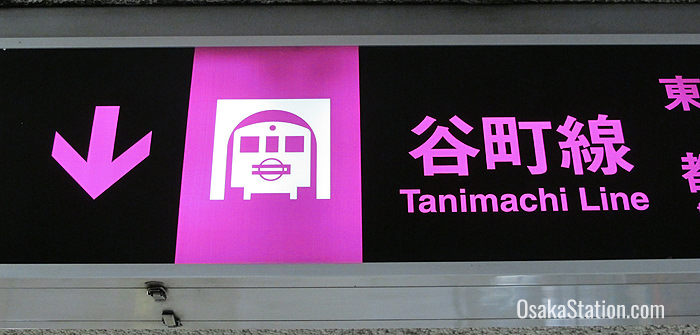 The Tanimachi Line is color-coded purple