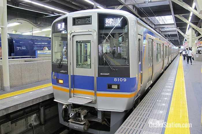 A local train bound for Wakayamashi at Nankai Namba Station