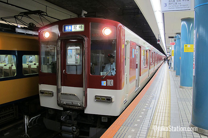 A Local train for Amagasaki at Platform 3 of Osaka Namba Station