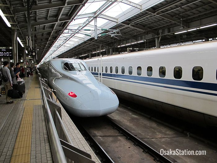 Catching the shinkansen to Okayama at Shin-Osaka Station