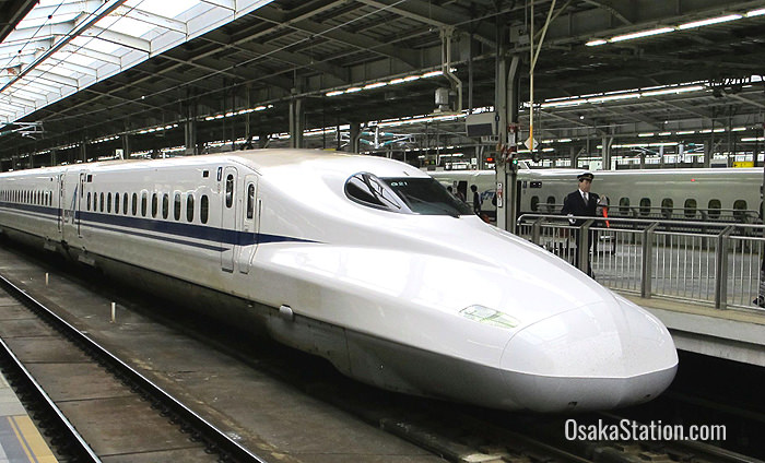 A shinkansen bullet train at Shin-Osaka Station