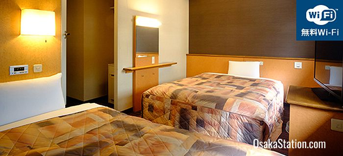 A twin guest room at the Second Inn Umeda