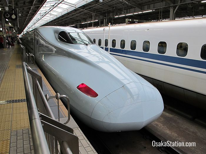 Shinkansen bullet trains at Shin-Osaka Station