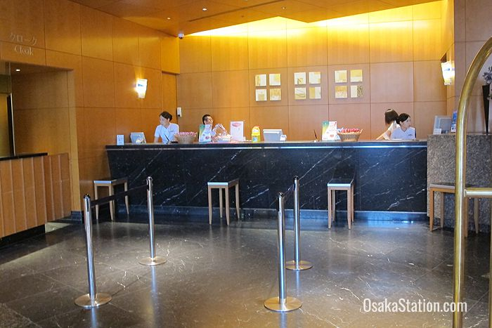 The reception desk on the 1st floor