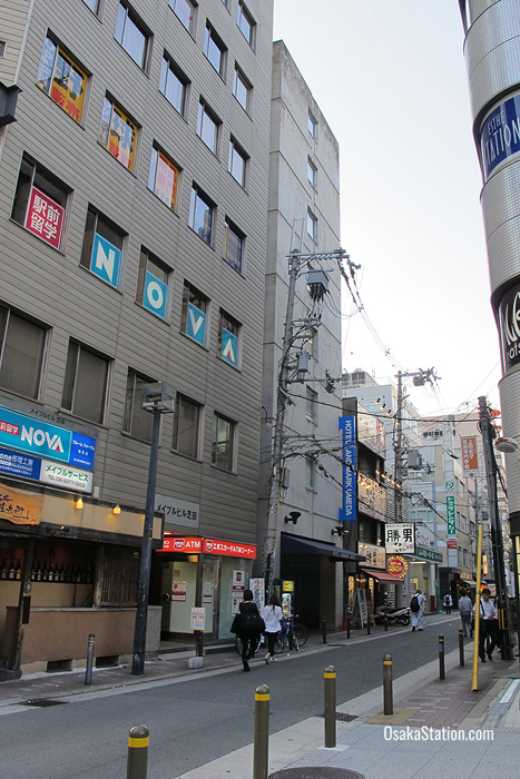 Hotel Landmark Umeda is located on a side street behind Yodobashi Camera. Look out for the hotel's distinctive blue sign