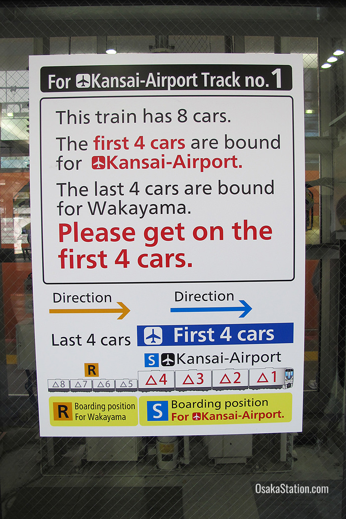 A sign at Osaka Station warning passengers to get on the correct part of the train