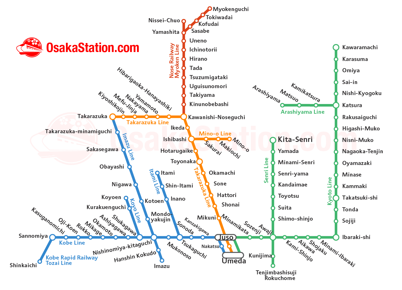 Hankyu Railway Osaka Area Map