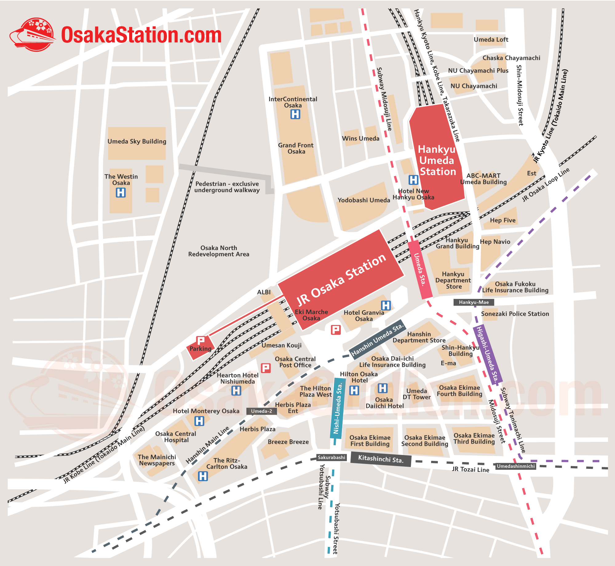 Umeda Area Map – Finding Your Way Around the Umeda Stations – Osaka ...