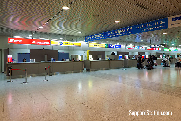 The rental car reception counters at New Chitose Airport