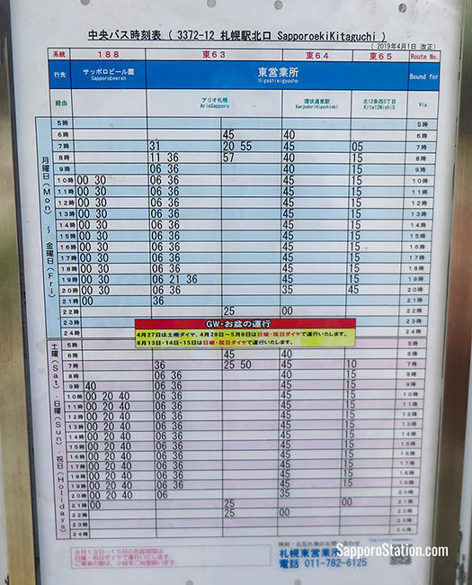 Timetables can be found at each bus stop. As seen above Bus 188 runs every 30 minutes on weekdays and every 20 minutes on weekends and holidays