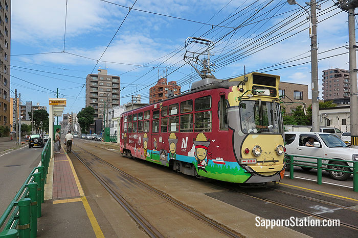 Many trams have colorful advertising