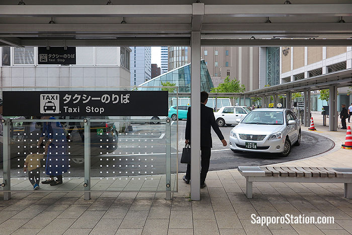 Waiting at a taxi rank at Sapporo Station