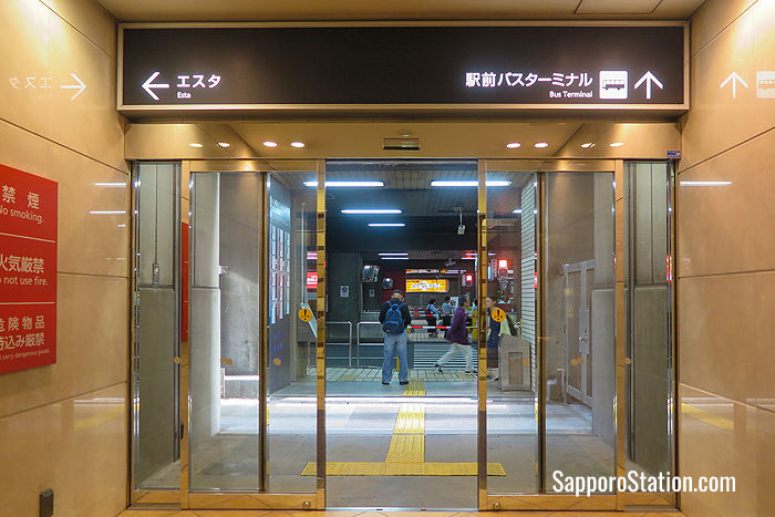 The entrance to Sapporo Station Bus Terminal