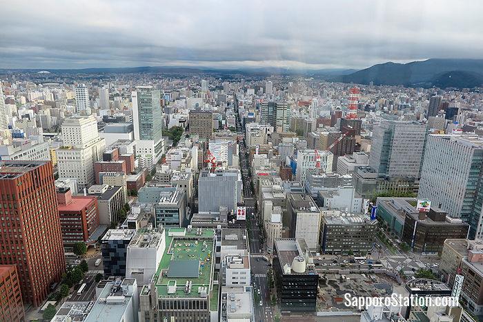 Looking south towards Odori Park and Susukino