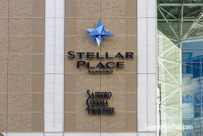 The Stellar Place logo on the south side of the Sapporo Station building