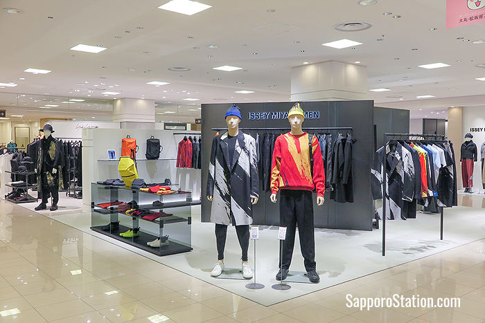 Issey Miyake on the 5th floor sells colorful high-fashion clothing for ladies and men
