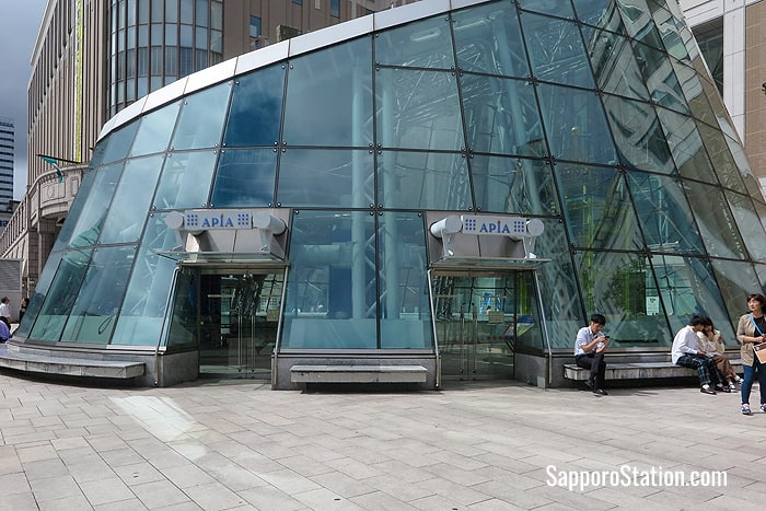An above ground entrance to Apia shopping center on the south side of the Sapporo Station building