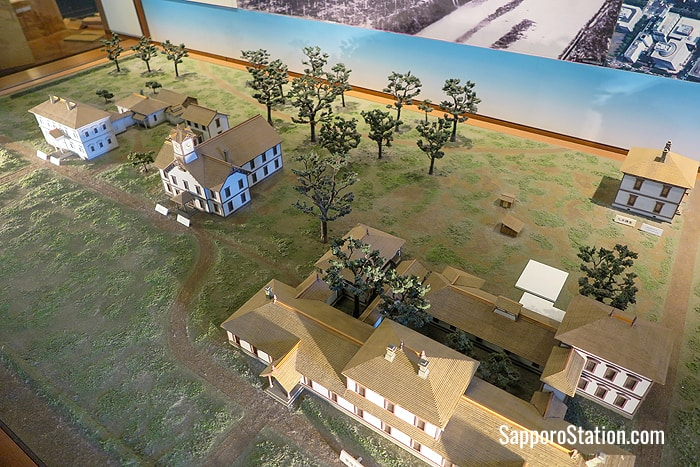 A diorama showing the original layout of Sapporo Agricultural College