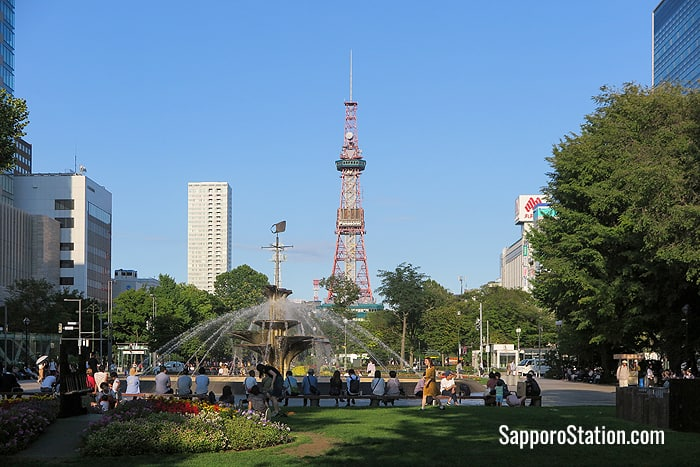 Sapporo TV Tower stands at the eastern end of Odori Park