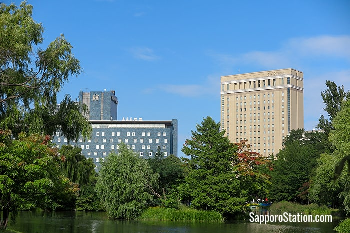 Sapporo Park Hotel (left) and Hotel Lifort (right) can be seen from the park