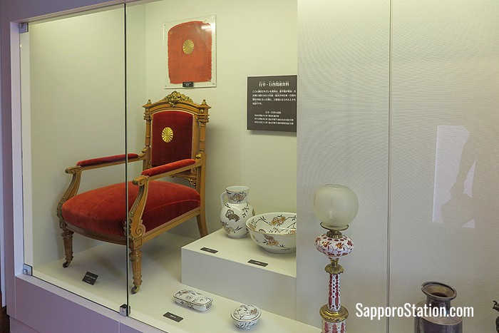 Items used during imperial visits are on display in the Murasaki Room