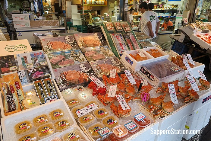 A typical seafood display at Sapporo's Nijo Market