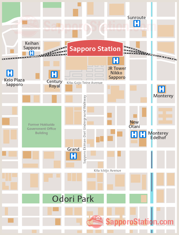 Sapporo Station Hotels Map