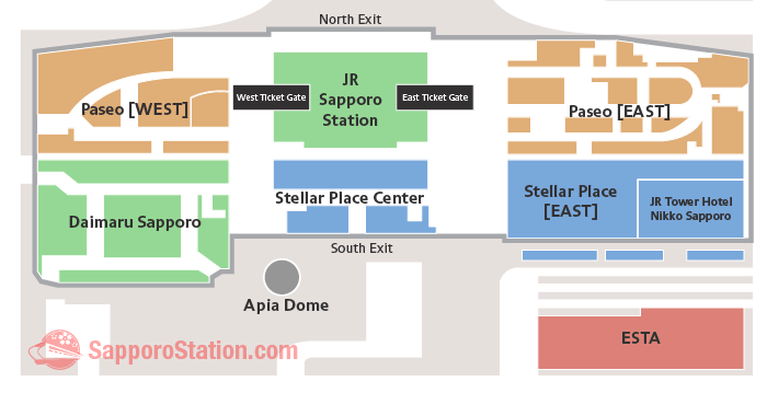 Sapporo Station Shopping Map