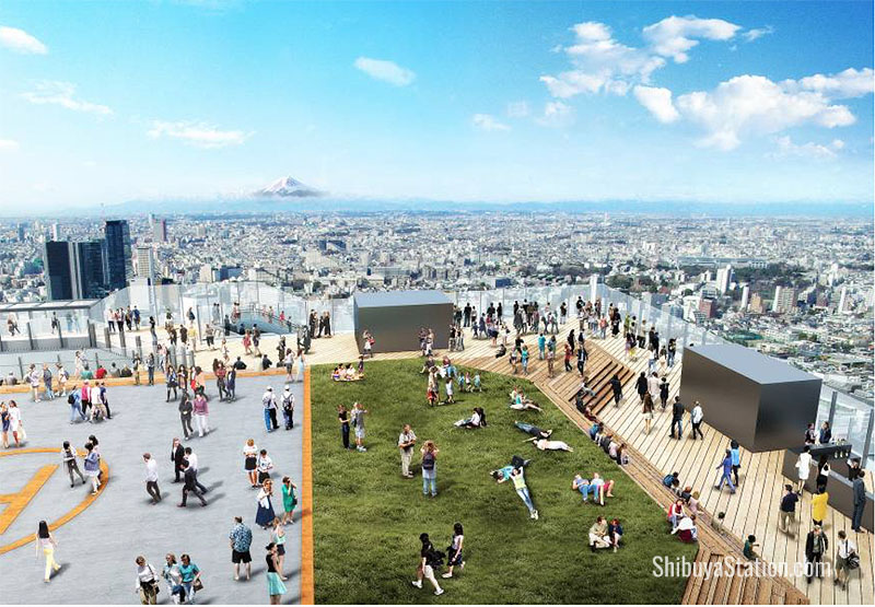 At 3,000 square meters, the rooftop observation deck will be one of Japan's biggest