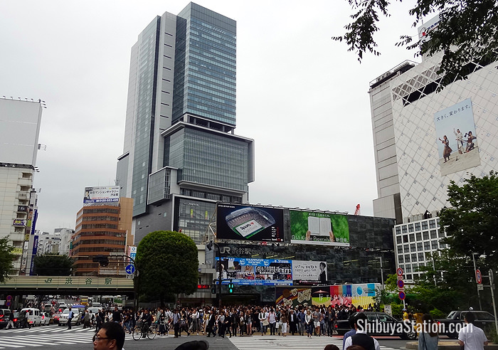 The Shibuya Hikarie skyscraper looms over Shibuya Station, which is undergoing redevelopment