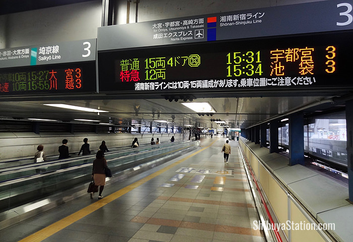 A long passageway connects JR Shibuya's platforms 3 and 4 with the rest of the station
